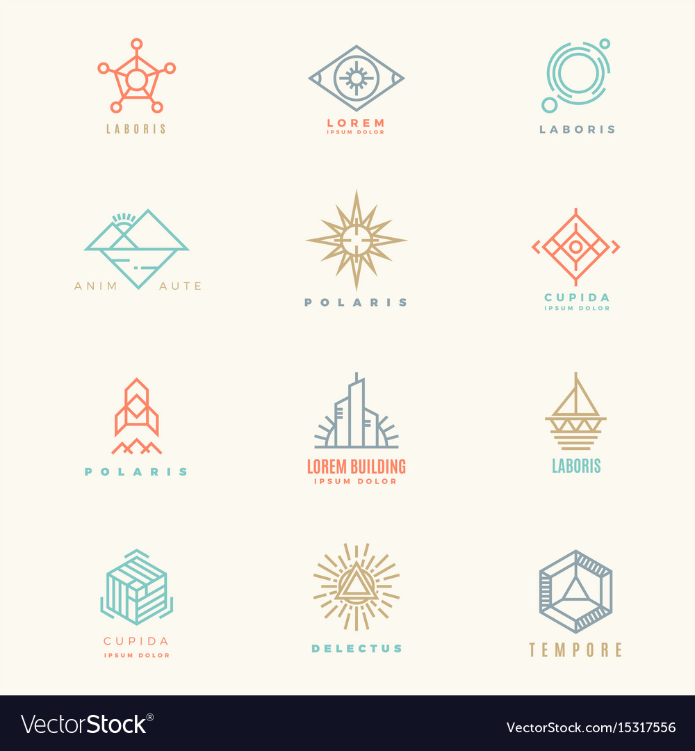Minimal geometric vintage colors logo set vector image
