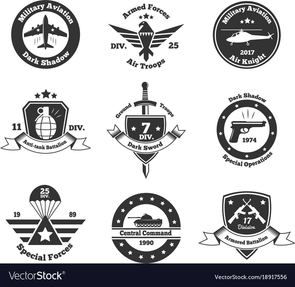 Monochrome military emblems set vector image
