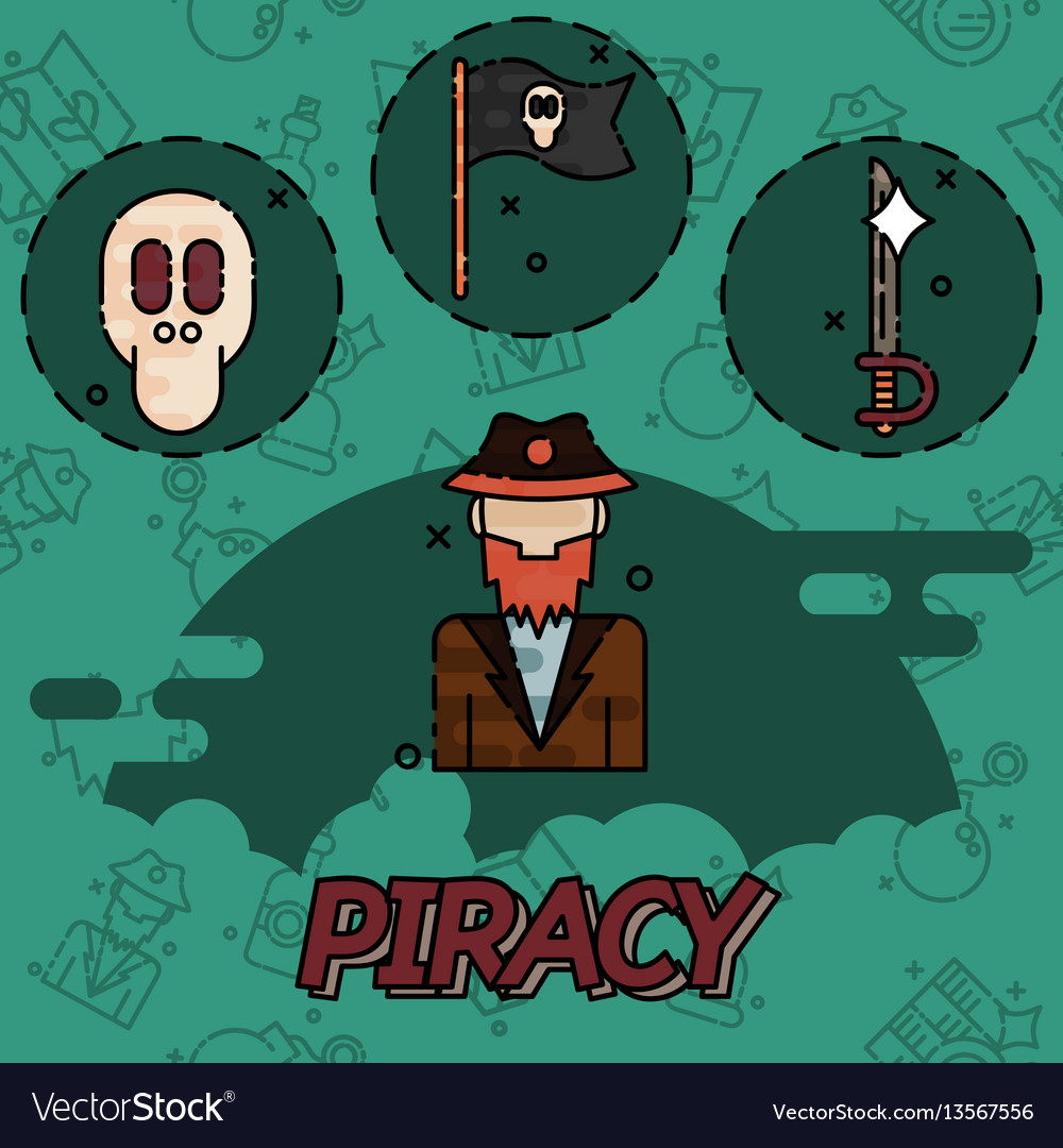 Piracy flat concept icons