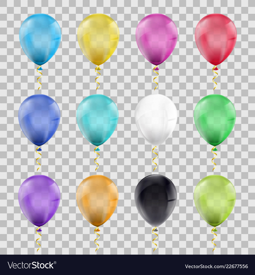 Set of multi-colored balloons