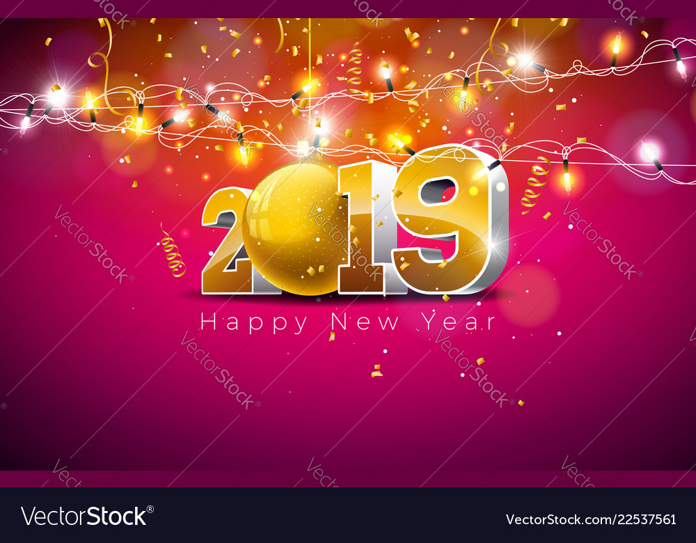 2019 happy new year with 3d gold