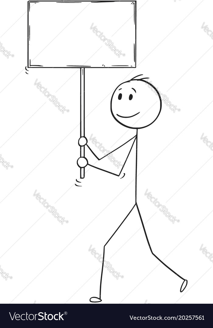 Cartoon of man or businessman walking with empty