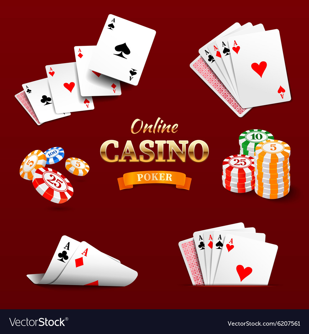 Casino design elements poker chips playing cards