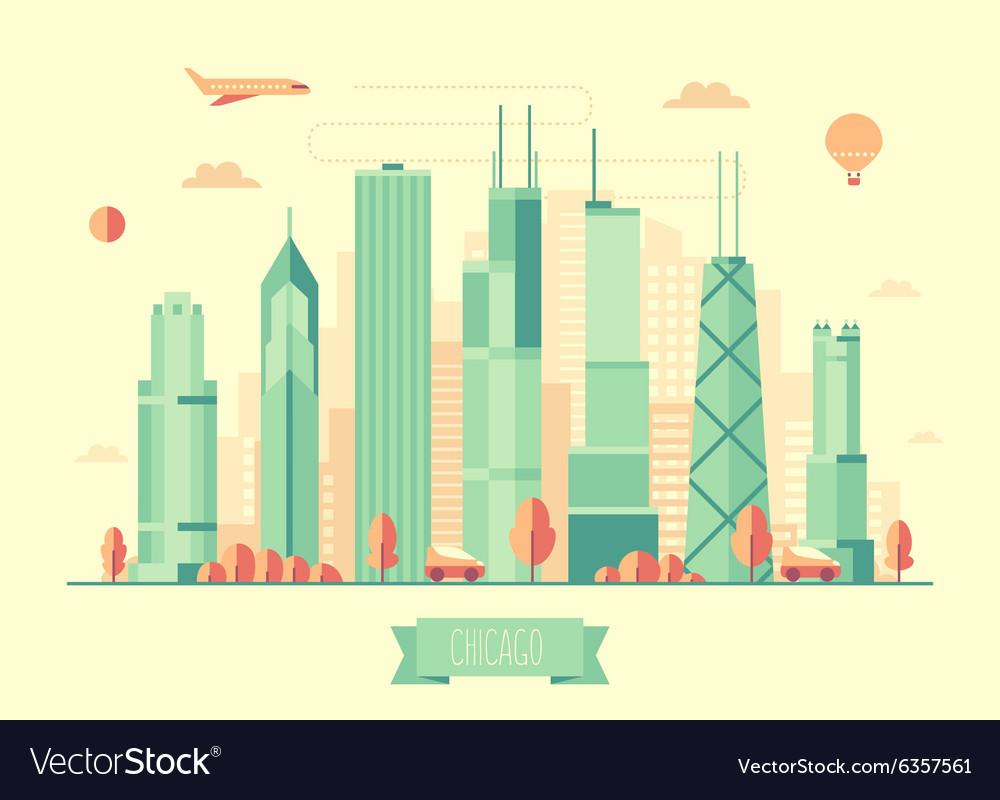 Chicago skyline flat design