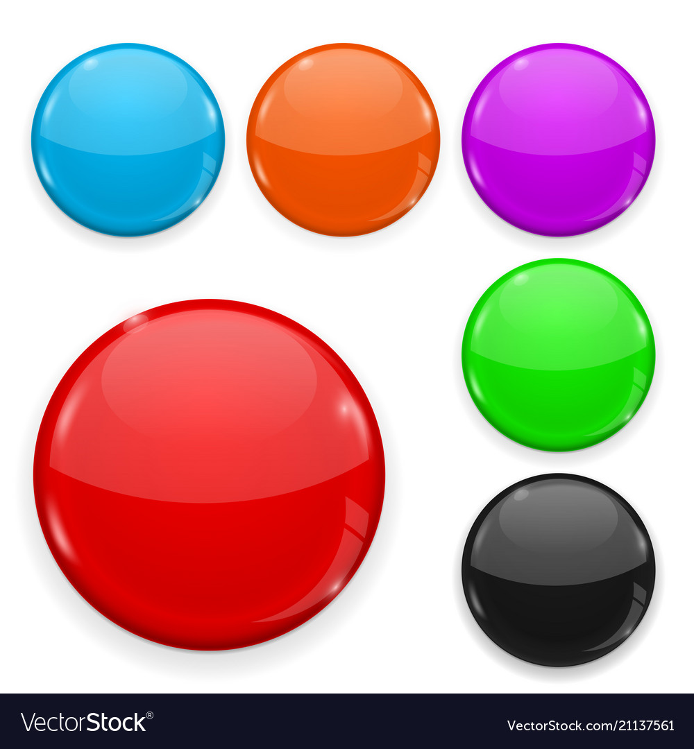Colored glass buttons isolated on white background