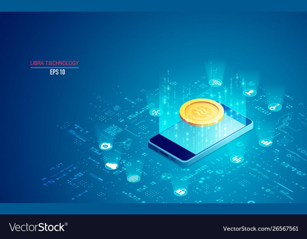 Concept libra coin technology mobile phone