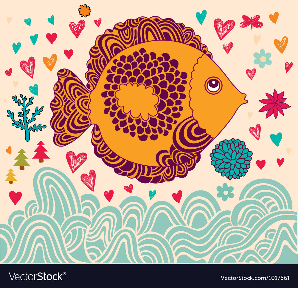 Decorative Fish Background vector image