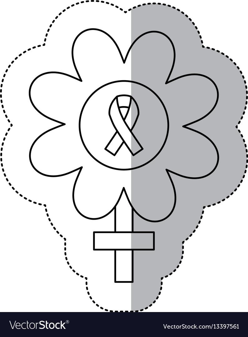 Figure flower inside breast cancer emblem