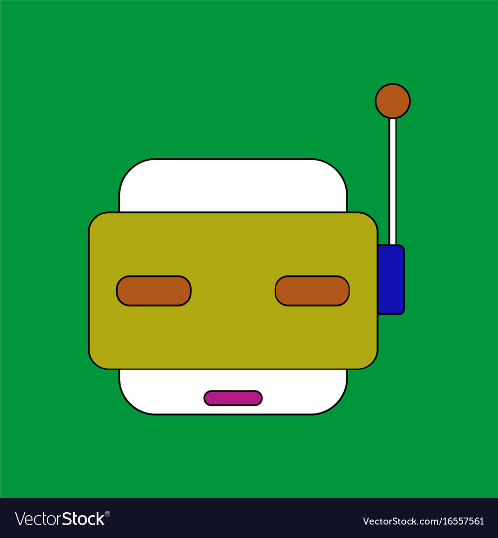 Flat icon design collection toy robot face