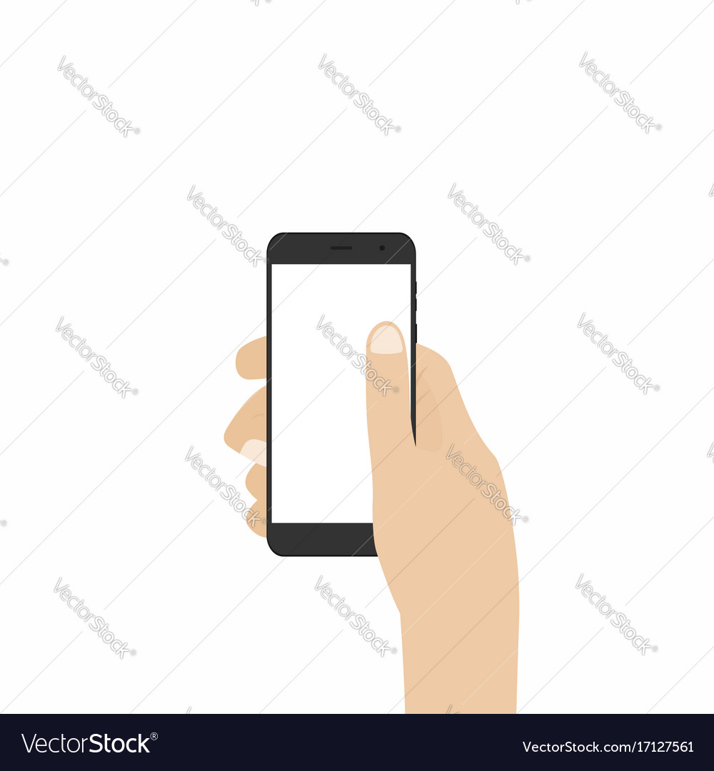 Hand holding smartphone phone in hand isolated on