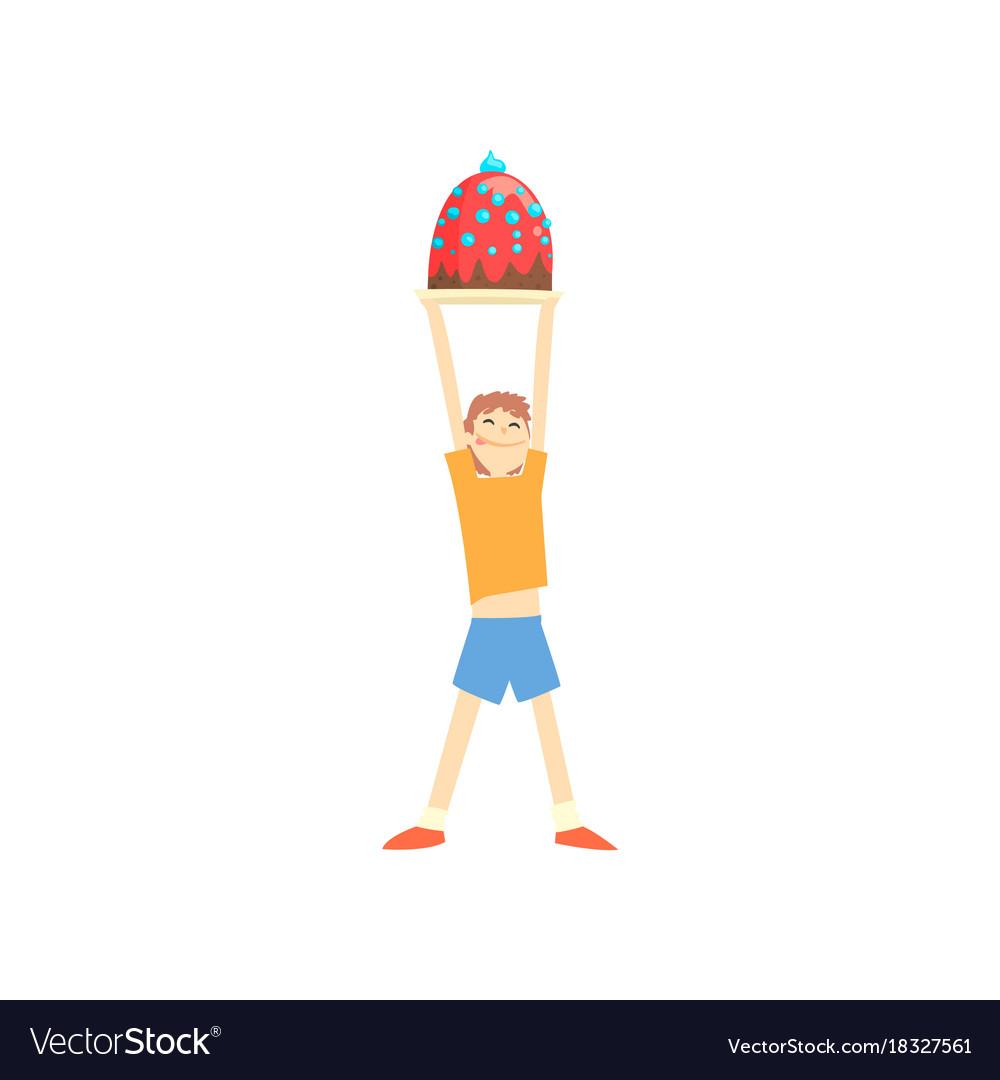 Happy boy holding big cake over his head cartoon vector image