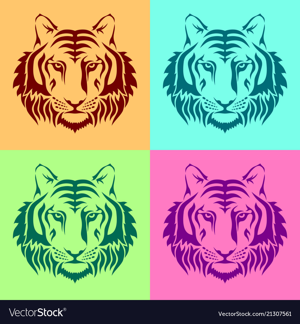 Isolated muzzles of a tiger on colored backgrounds