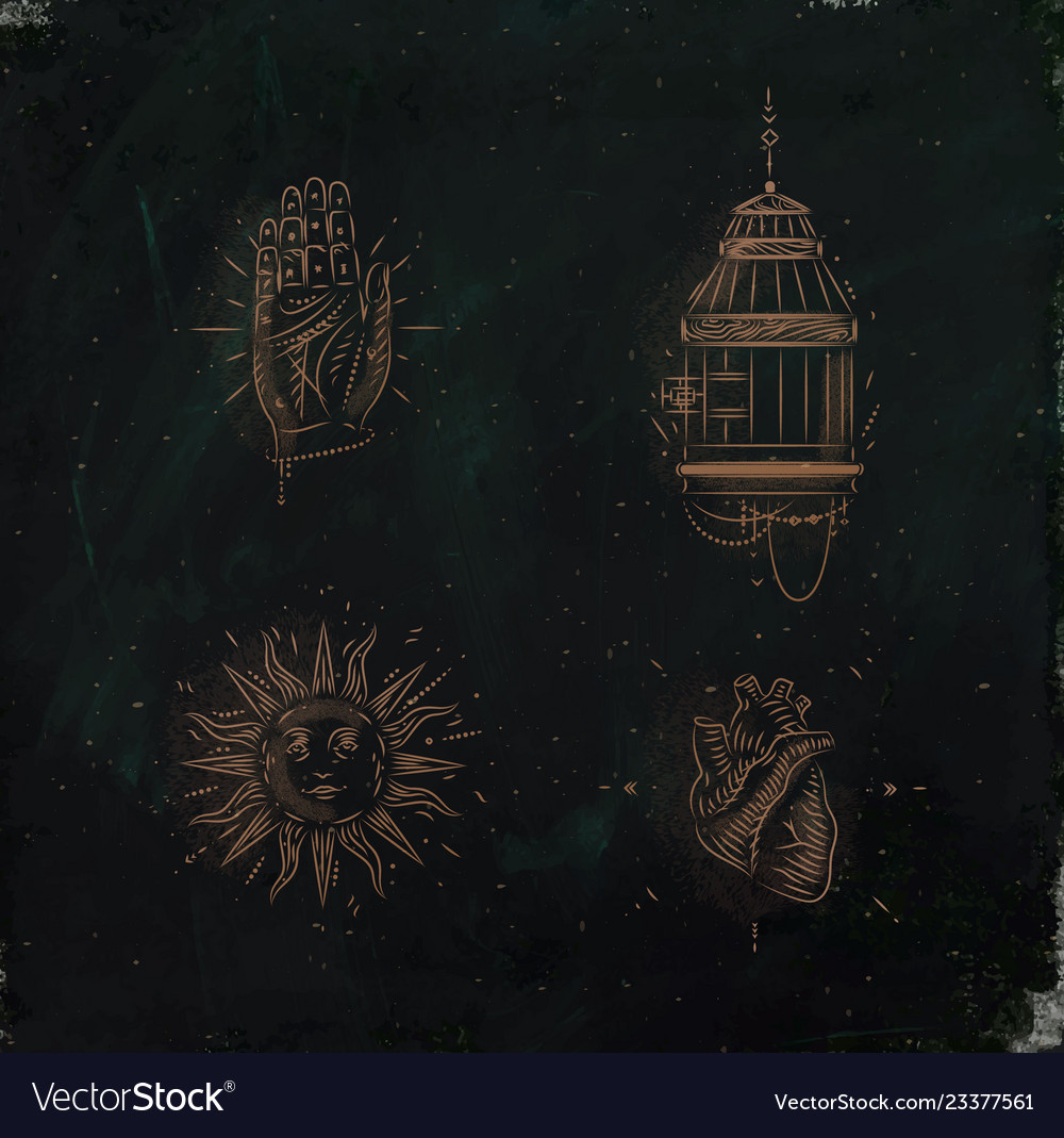 Magic and mystic signs bird cage green