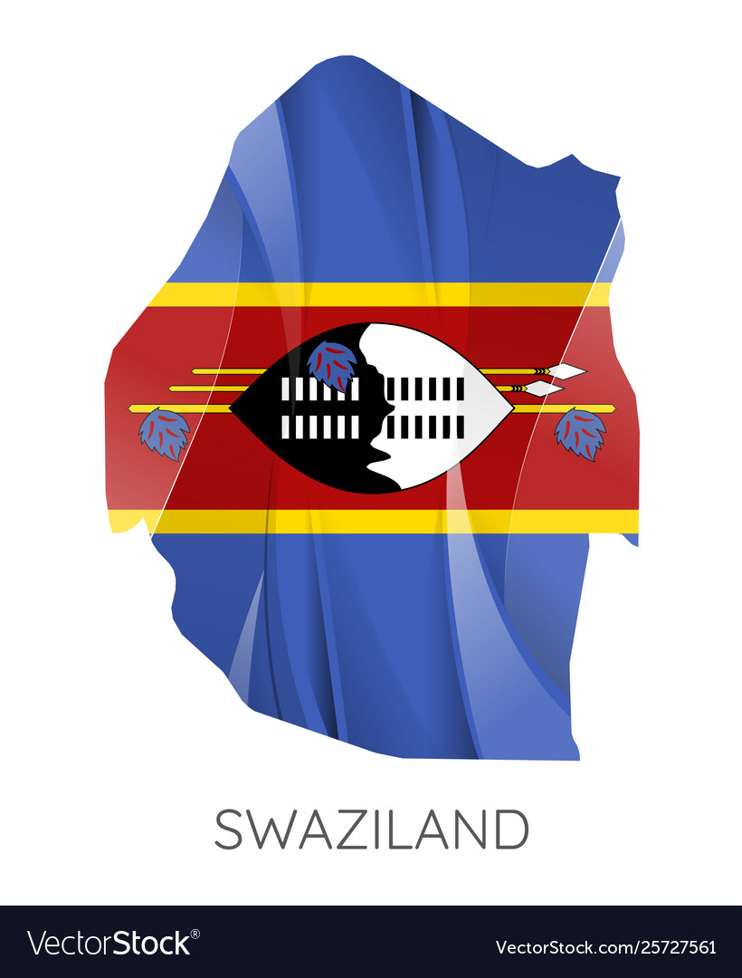 Map swaziland with national flag