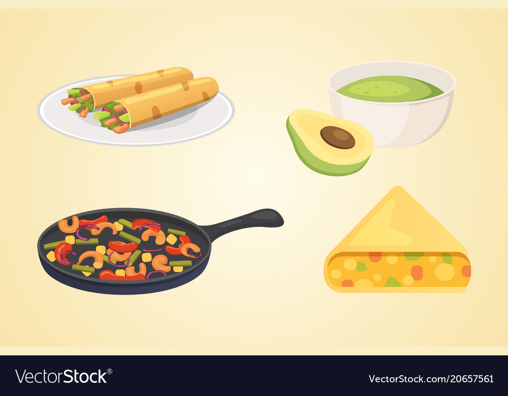 Mexican cuisine cartoon dishes set