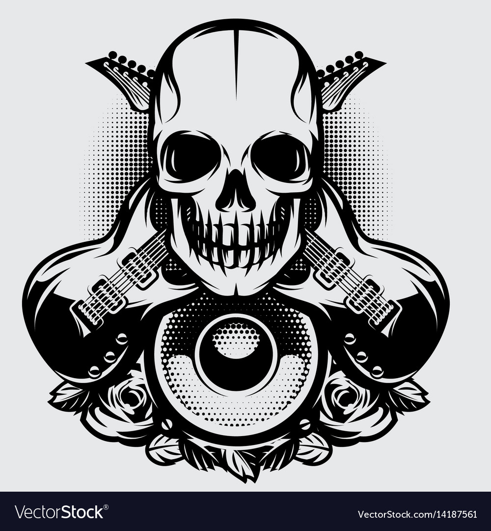 On a theme of rock music with vector image
