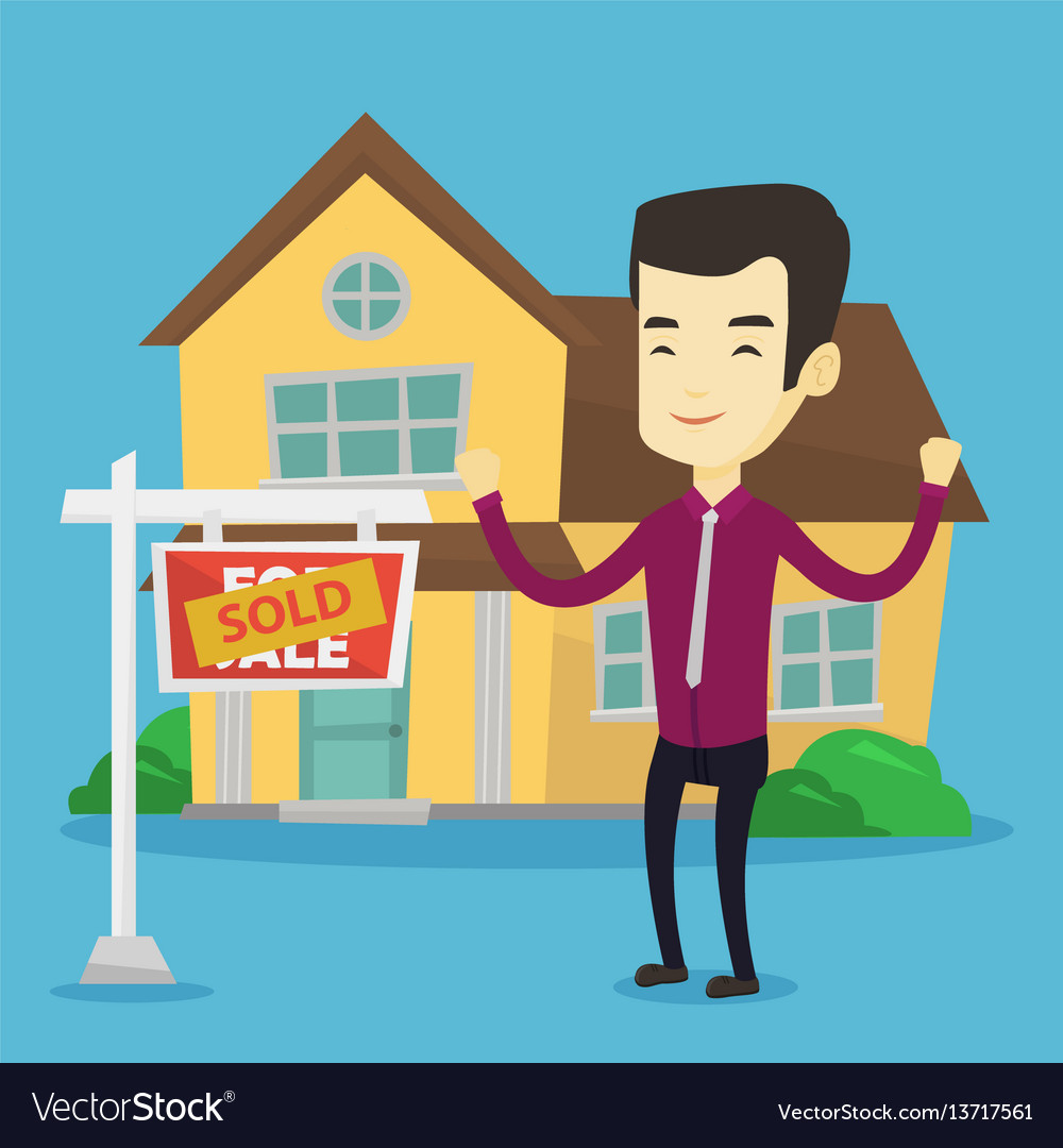 Real estate agent with sold placard