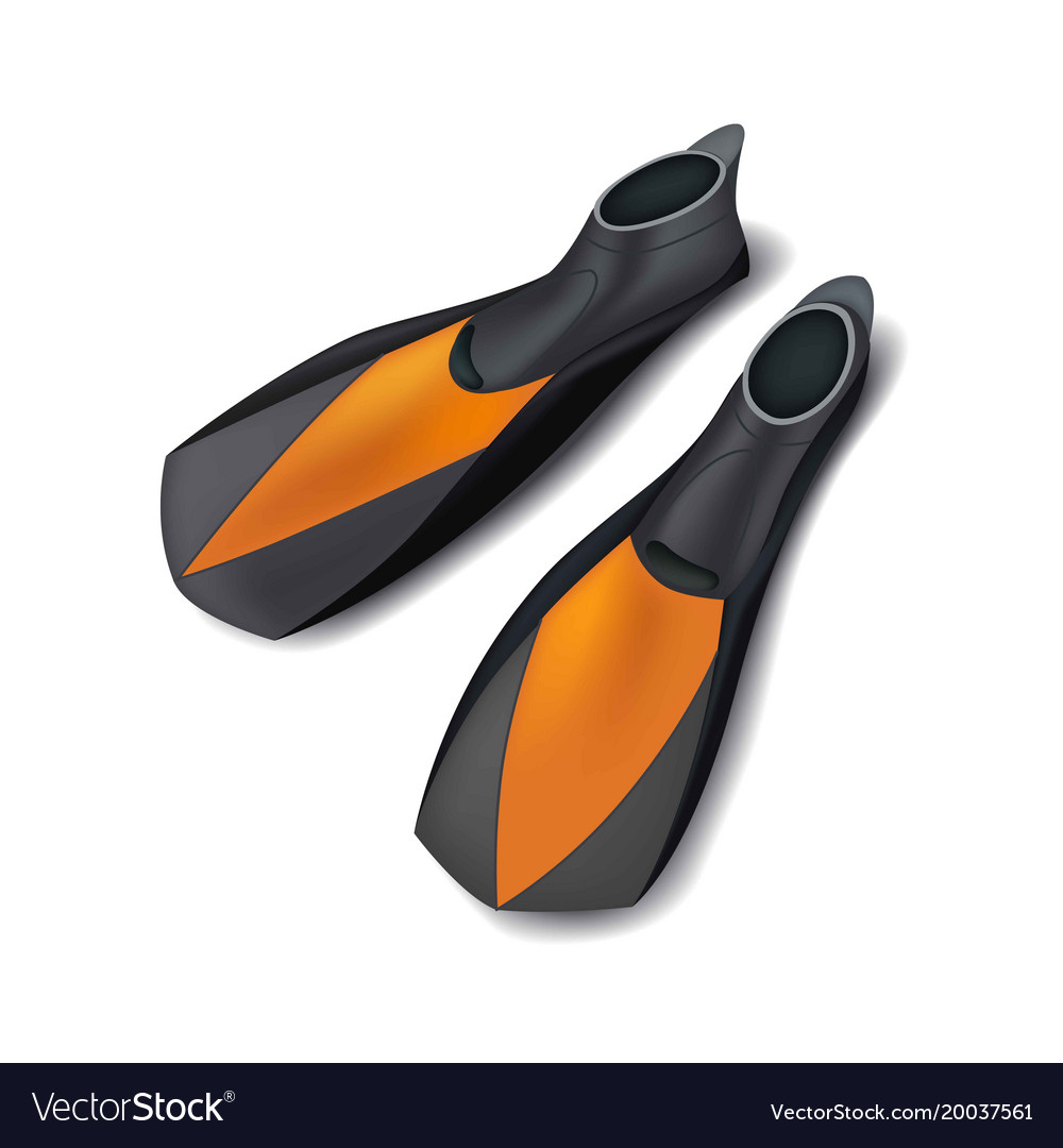 Realistic black flippers front view isolated on