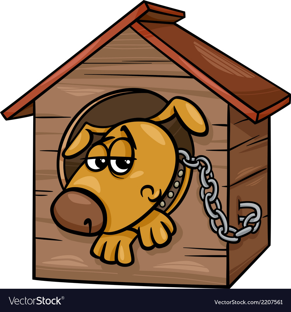 Sad Dog In Kennel Coloring Page Vector Image