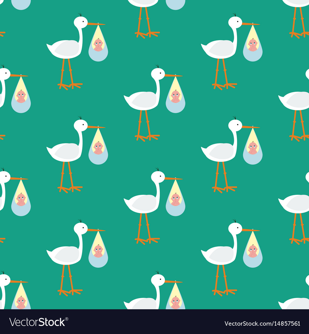 Stork brought the baby seamless pattern