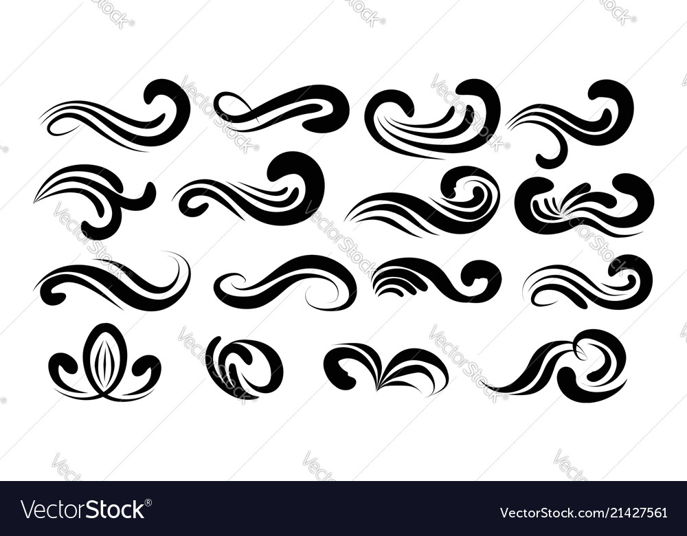 Swirly line curl patterns isolated on white