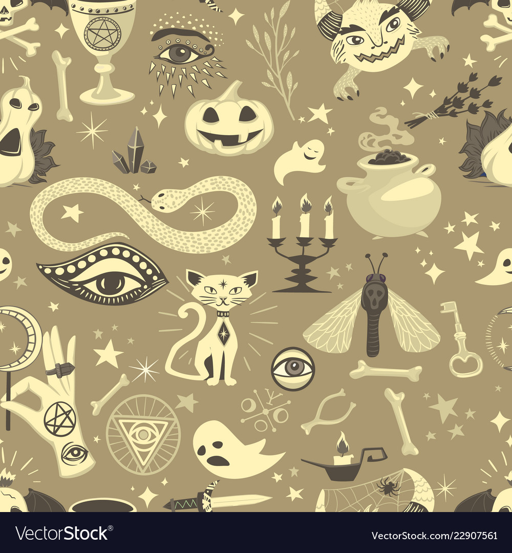 Vintage halloween seamless pattern