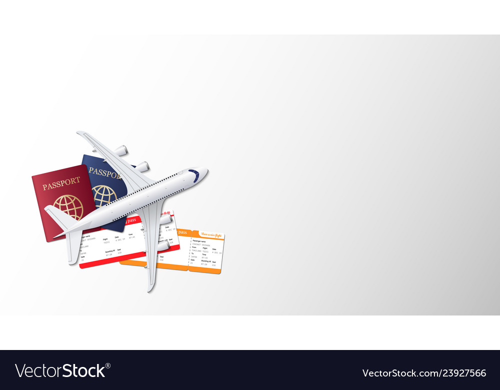 Airplane passport and boarding pass on empty