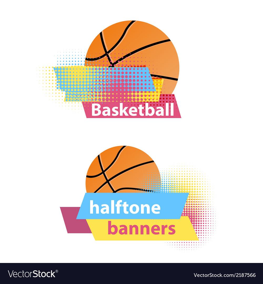 Basketball halftone banners vector image