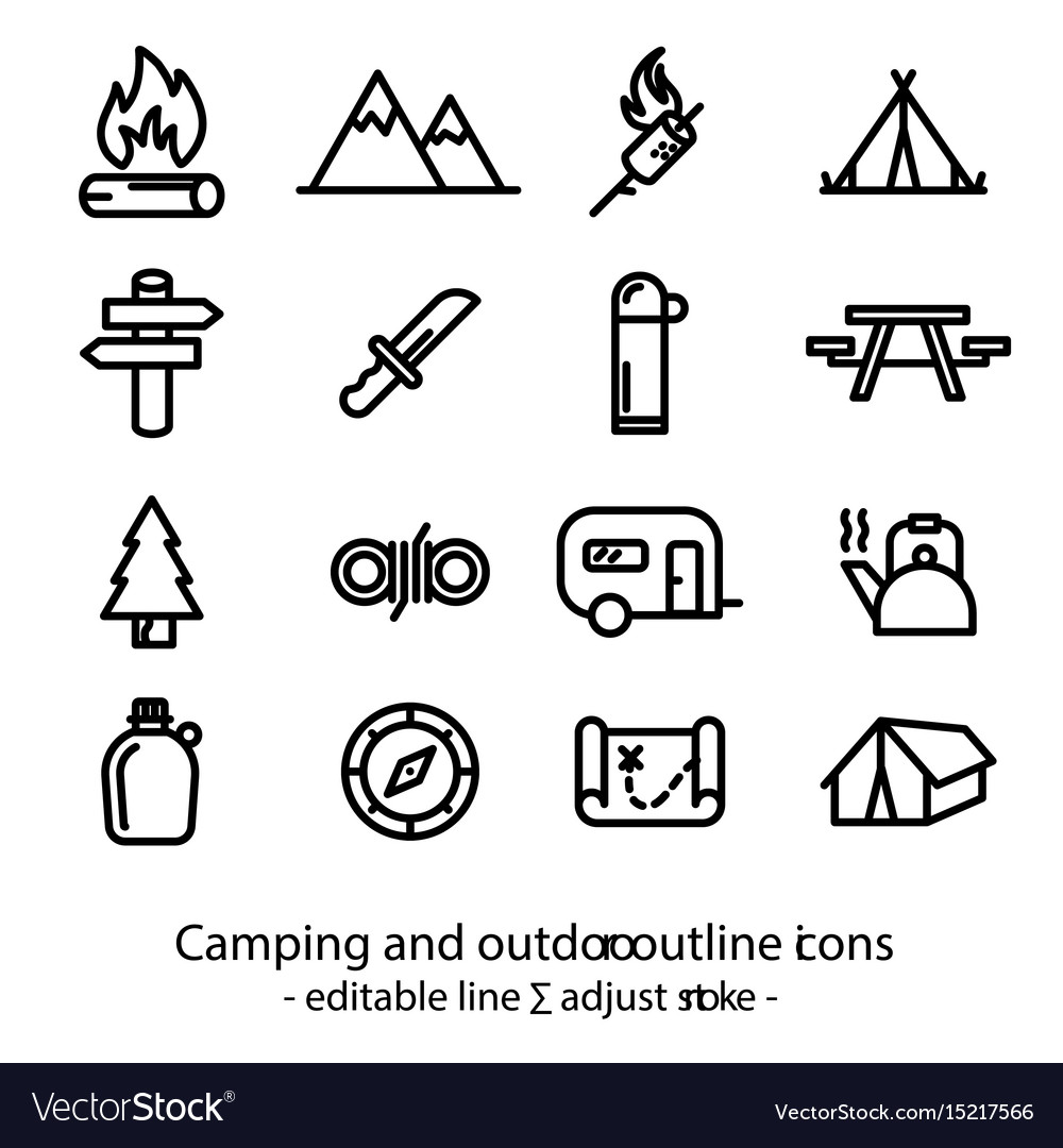 Camping and outdoor outline icons - editable line