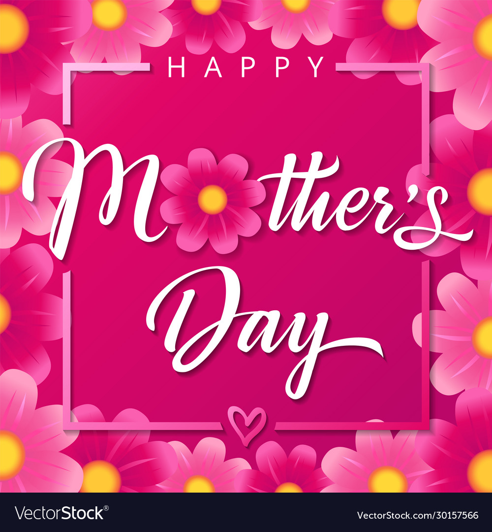 Happy mothers day pink flower square banner