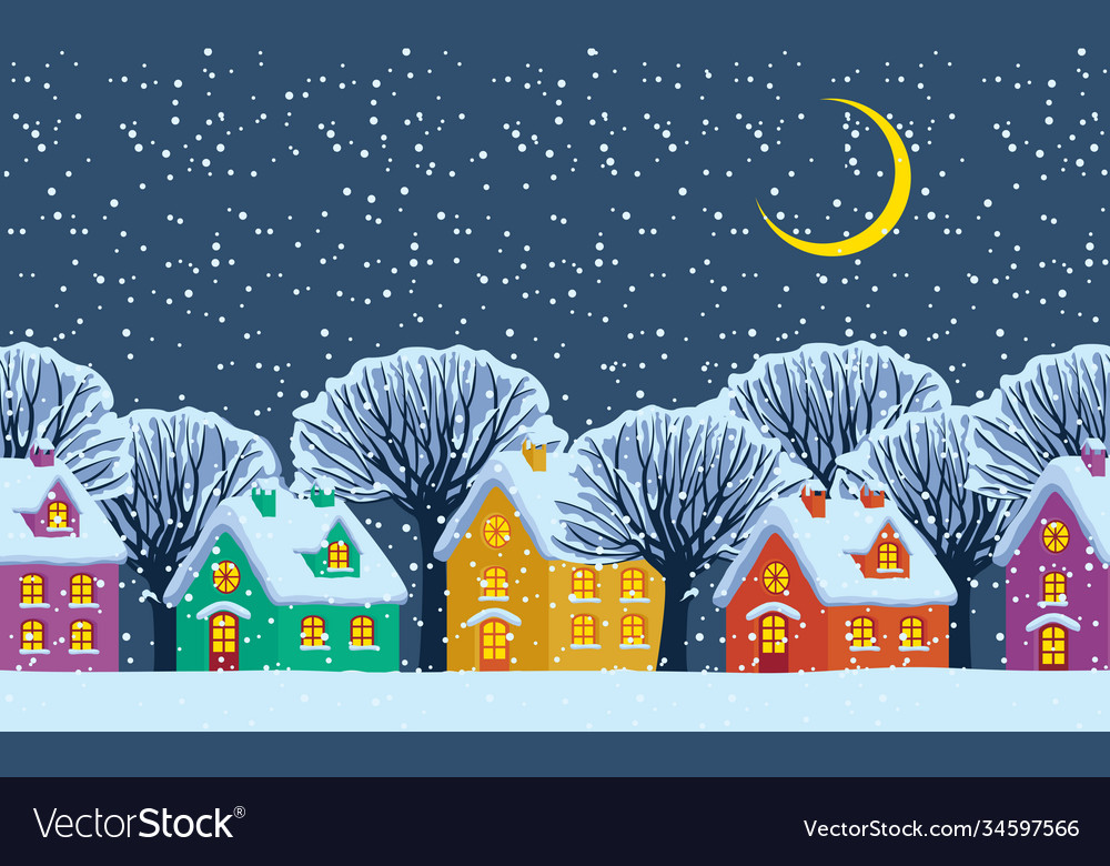 Night winter landscape with colored country houses