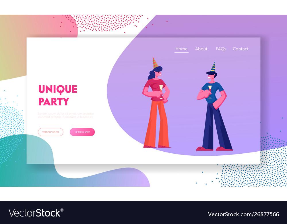People celebrating party website landing page man