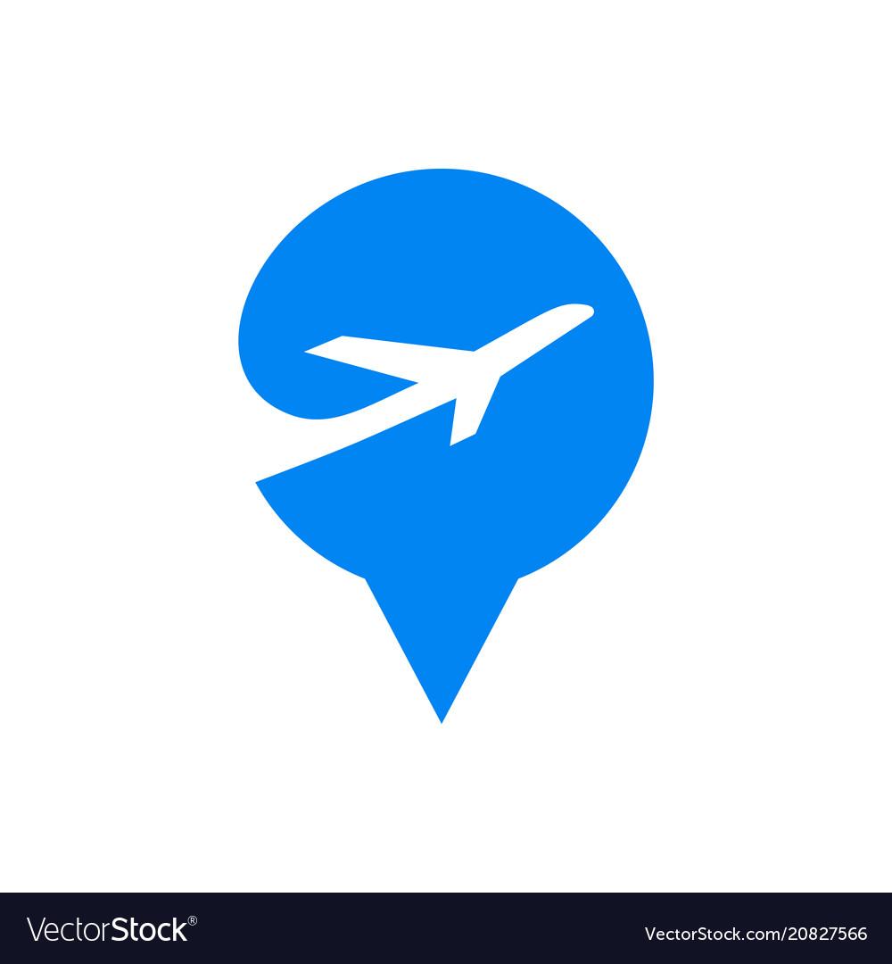Pin pointer location flat logo element