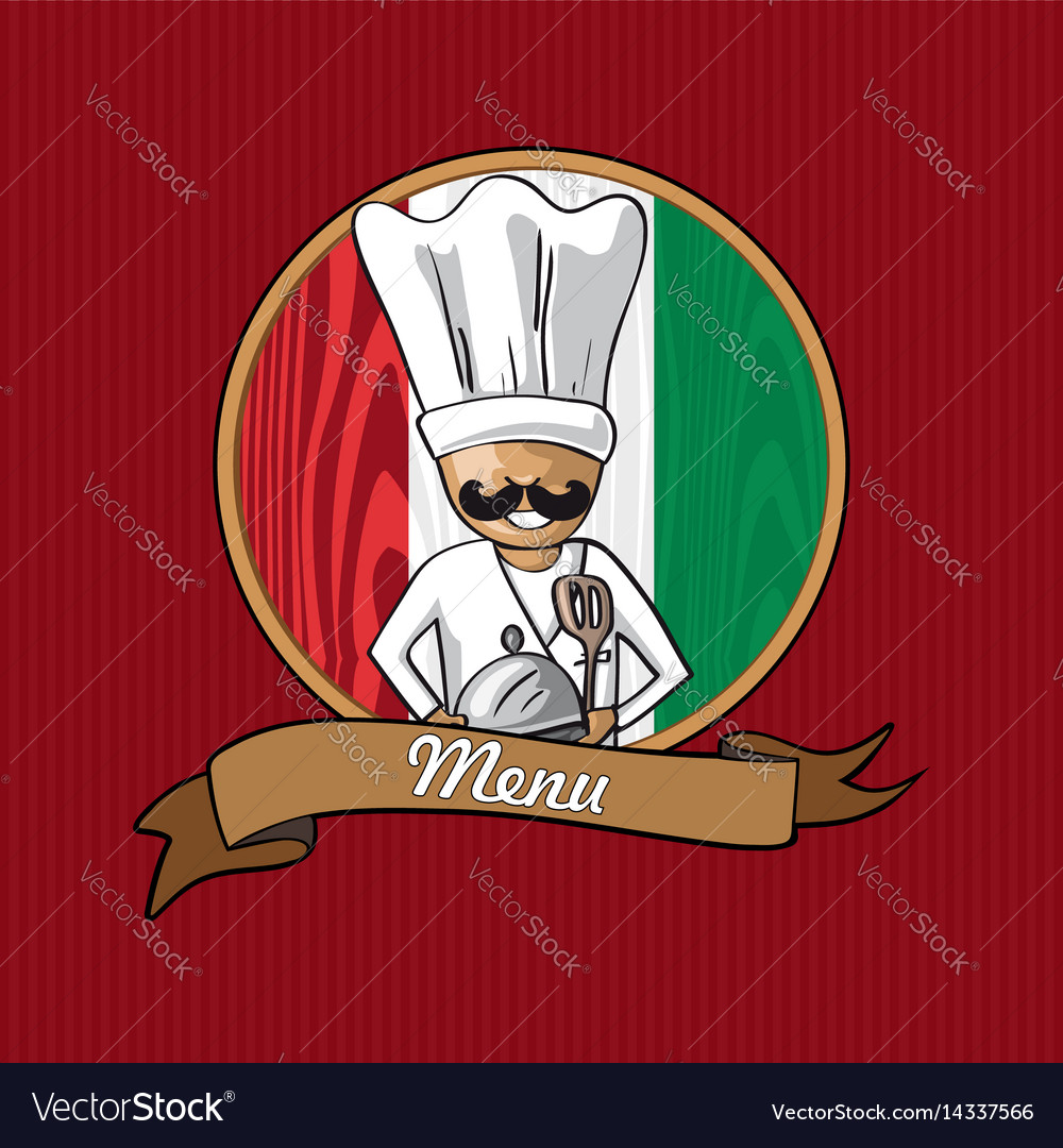 Restaurant menu design with italian chef