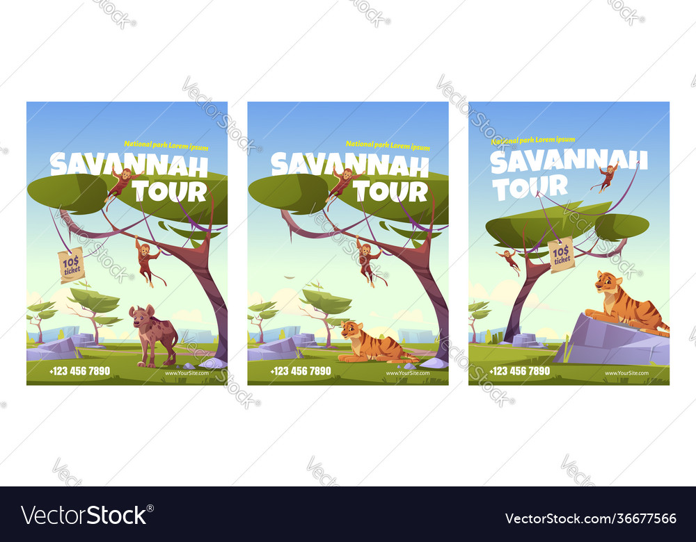 Savannah tour poster with african animals