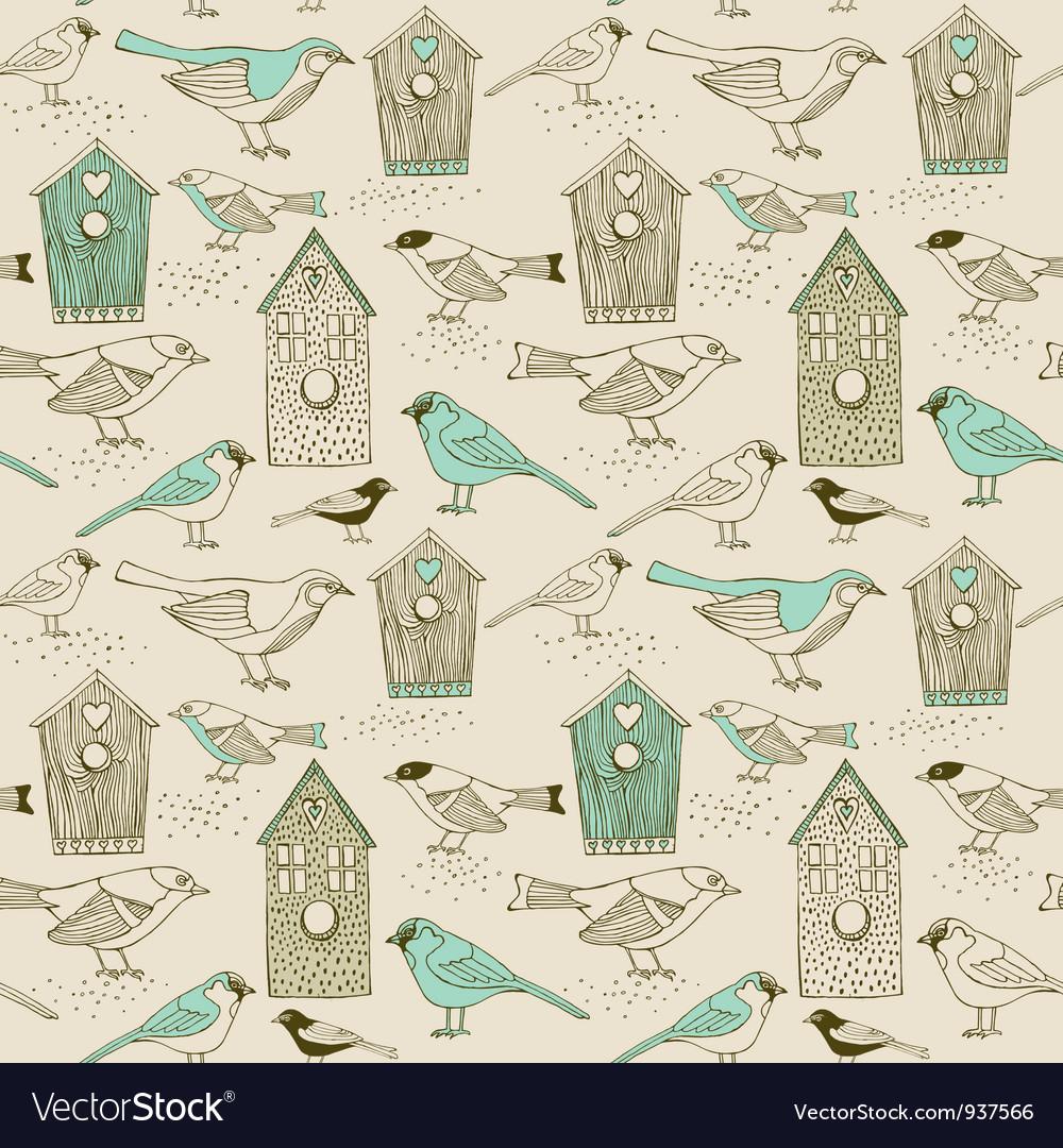 Vintage Bird house pattern