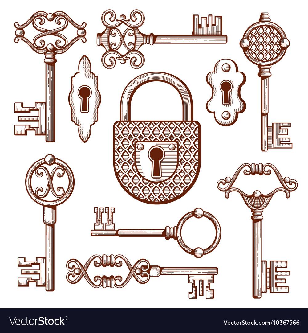 Vintage keys locks and padlocks hand drawn vector image