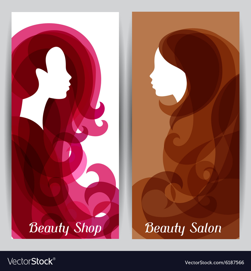 Woman silhouette with curly hair on banners for