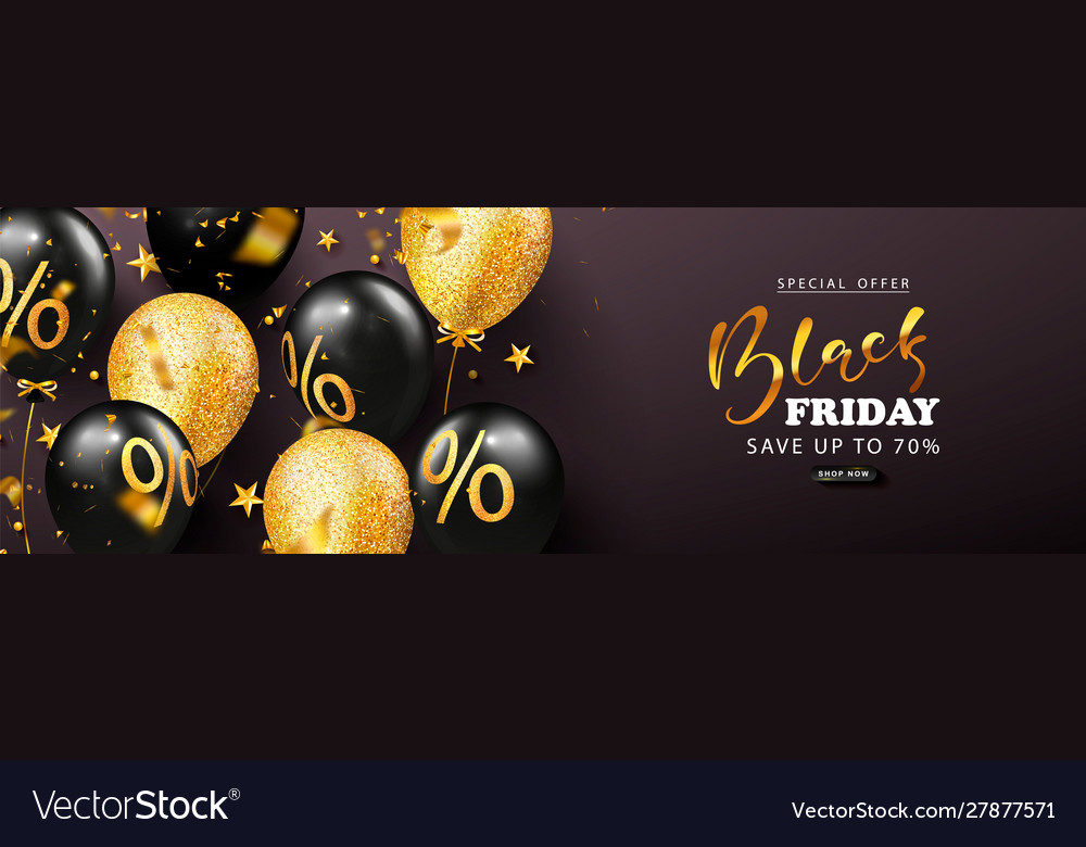 Black friday sale banner with beautiful balloons