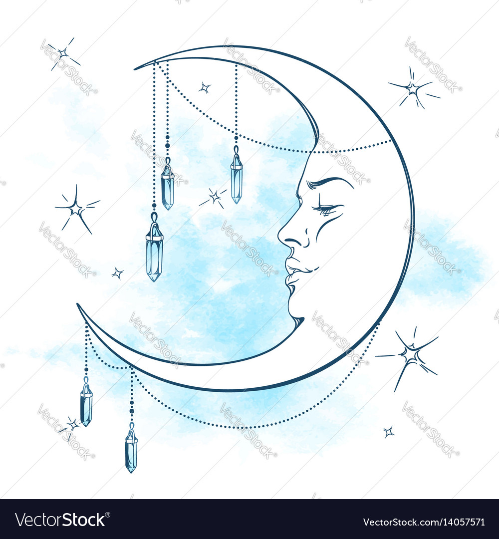 Blue crescent moon with moonstone pendants