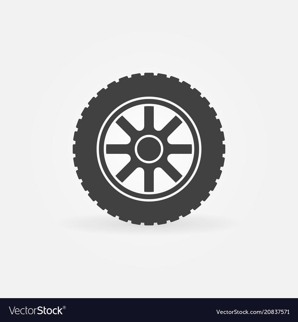 Car wheel simple icon - car service symbol