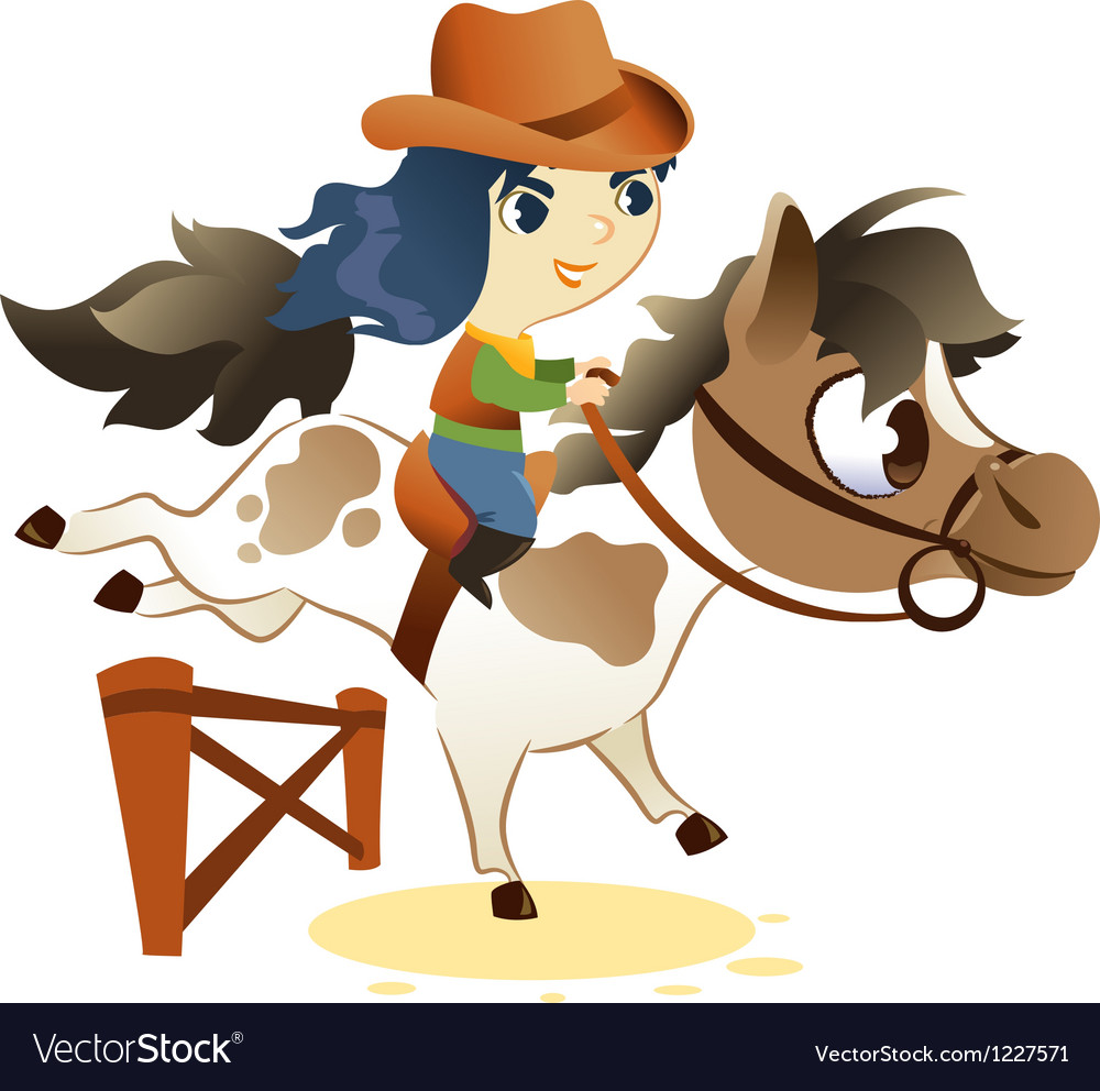Cowgirl on Small Horse jumping a Hurdle