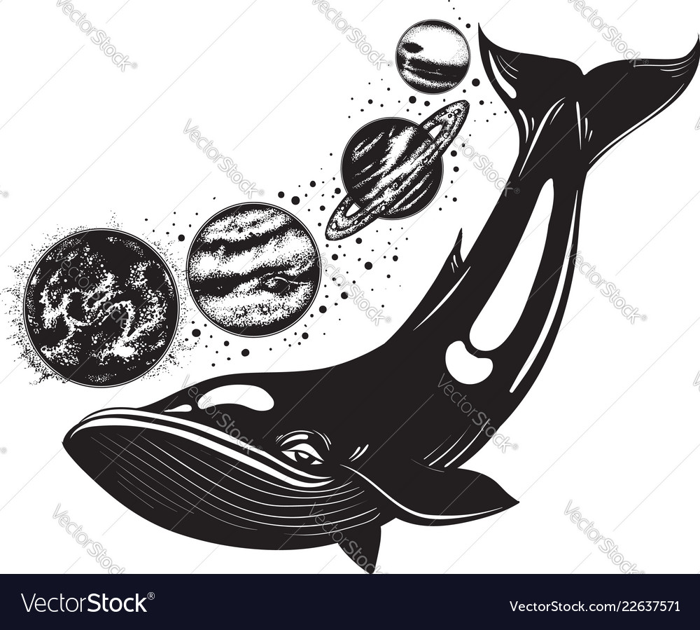 Hand drawn whale and planets of solar system