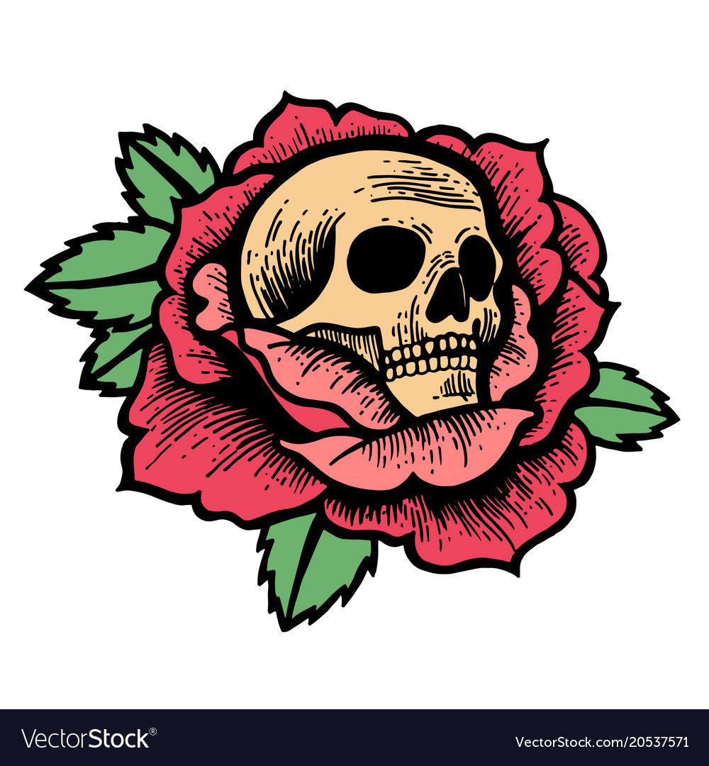 Old school rose tattoo with skull vector image
