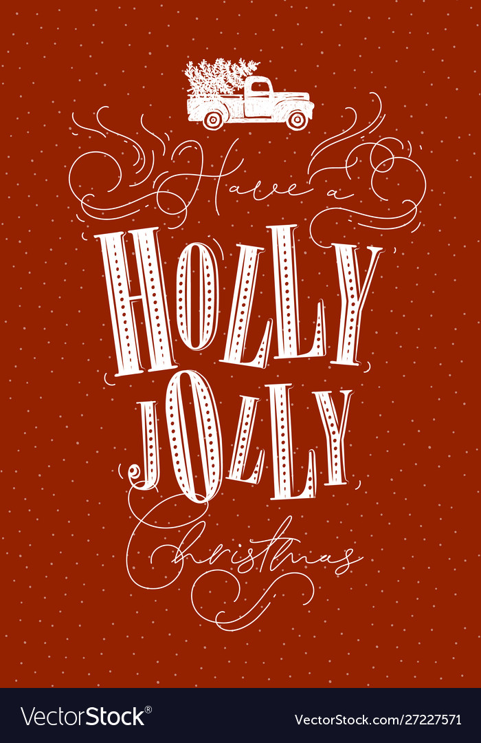 Poster holly jolly christmas red
