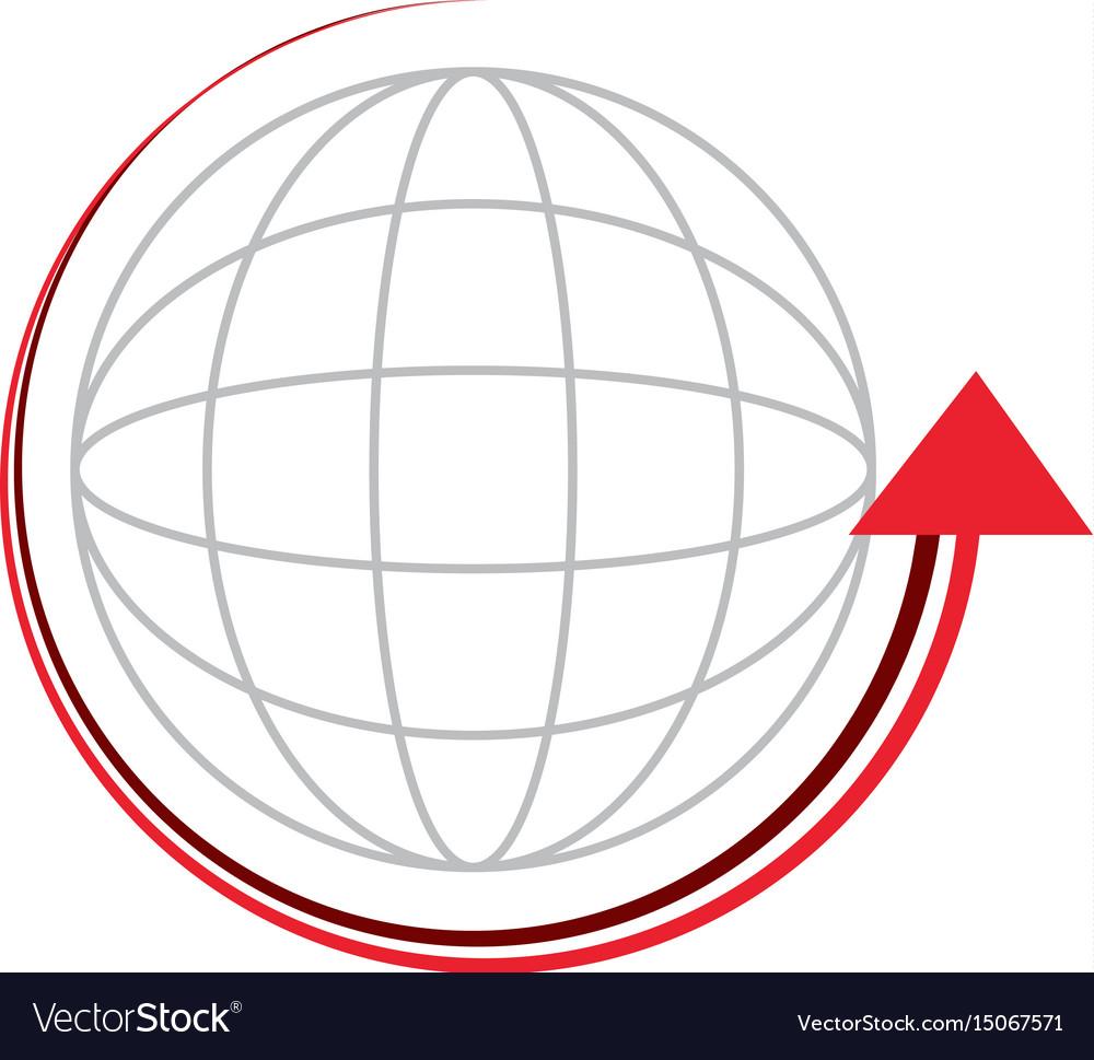 Sphere with arrow around