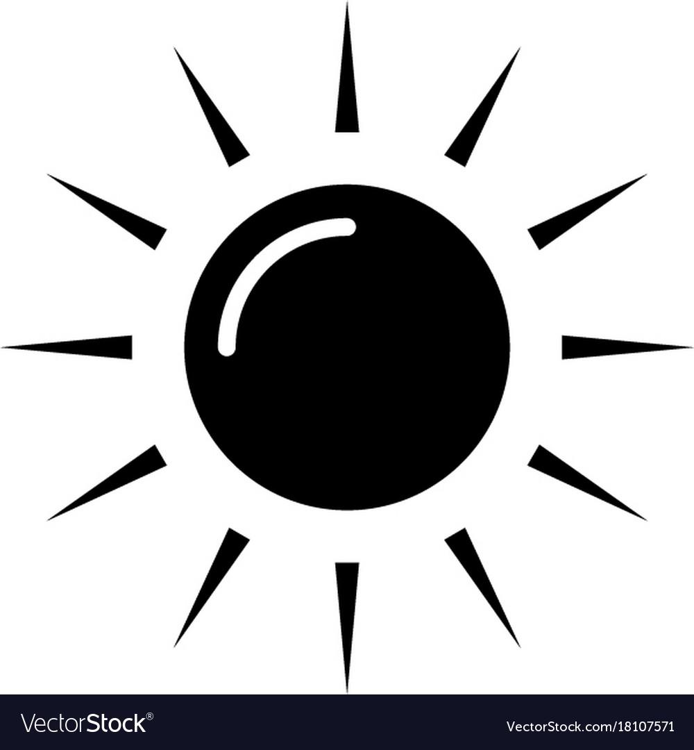 Sun icon black sign on