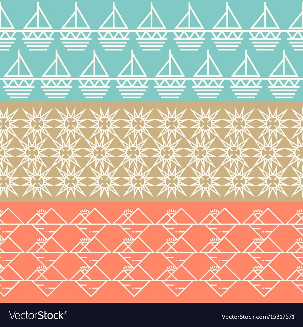 Vintage geometric horizontal seamless pattern set vector image