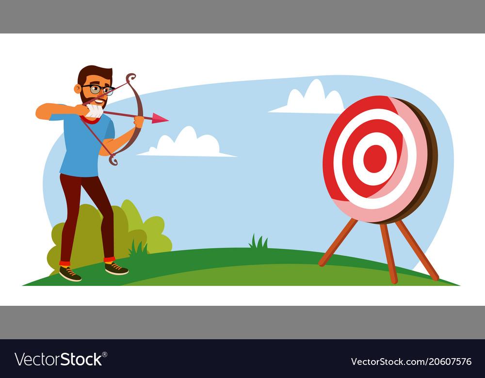 Attainment concept businessman shooting
