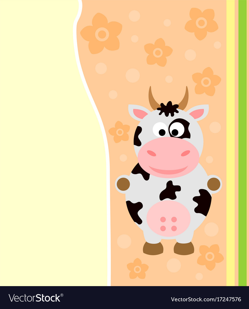 Background card with funny cow vector image